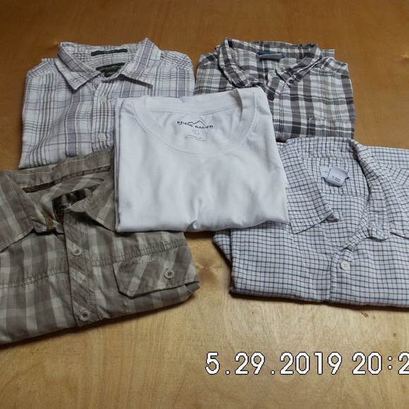 Columbia Other - 5 Men's S/S Button Down Shirts 4 Plaid 1 Whht T Lg